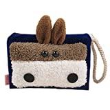 AwesomeMall Cute Bunny Rabbit Navy Blue Pencil Phone Card Case Cosmetic Makeup Bag Pouch Purse