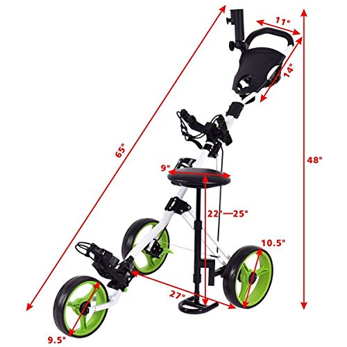 TANGKULA Golf Cart Swivel Foldable 3 Wheel Push Pull Cart Golf Trolley with Seat Scoreboard Bag Golf Push Cart