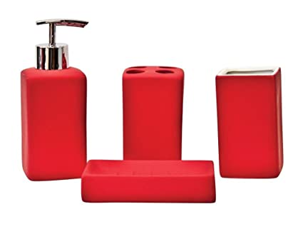 4pc Creamic cubo rojo baño Set jabonera dispensador de vaso ...