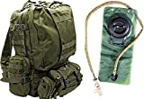 Tactical Military MOLLE Backpack Bundle with 2.5L Hydration Water Bladder & 3 Molle Bags By MonkeyPaks (ACU)