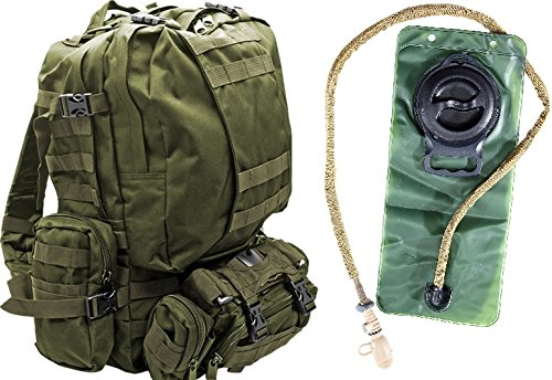 Tactical Military MOLLE Backpack Bundle with 2.5L Hydration Water Bladder & 3 Molle Bags By MonkeyPaks (OD Green))