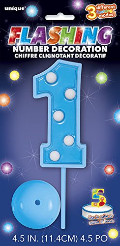 Flashing Blue Number Topper Decoration