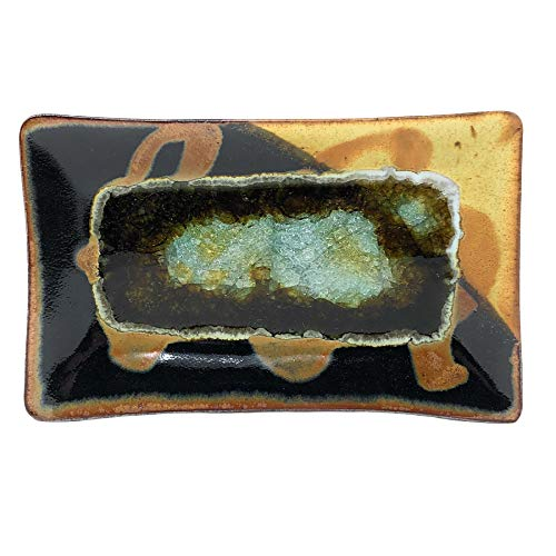 Dock 6 Pottery 10-inch Rectangular Tray with Fused Glass, Toasted Marshmallow