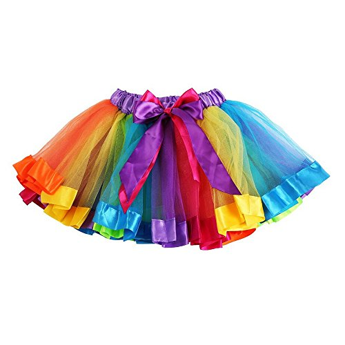 [Baby Girl Kids Rainbow Fluffy Pettiskirt Tutu Skirt Party Dance Dress (Large / 5T-8T)] (Kids Tutu)