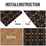 "Outsunny 12"" x 12"" HDPE Interlocking Composite Deck Tile 10 Pack, Grey"