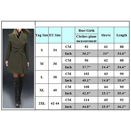 Yying Lana Fit Donna Giacche Slim Capispalla Long Winter Autunno Trench Blend Di Solid Verde Coat Cachi Cappotti 8Ur8q