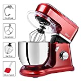 Betitay Stand Mixer, 6-Speed 4.5 QT 304 Stainless Steel Bowl Baking Mixer, Dough Kneading Machine with Splash Guard, Mixing Beater, Whisk, Dough Hook and Silicone Brush, 500W/1400W Max. (Red/Steel)