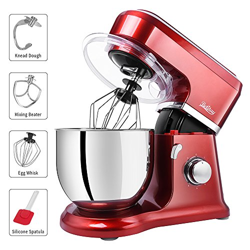Betitay Stand Mixer, 6-Speed 4.5 QT 304 Stainless Steel Bowl Baking Mixer, Dough Kneading Machine with Splash Guard, Mixing Beater, Whisk, Dough Hook and Silicone Brush, 500W/1400W Max. - Mixers Mixer Stand