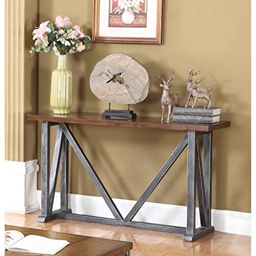 Best Master Furniture DX500 Durham Walnut with Brushed Gray Iron Sofa Table