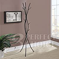 1PerfectChoice Unique Vine Hallway Office Coat Rack Hat Hook Hanger Tree Stand Black Metal Iron