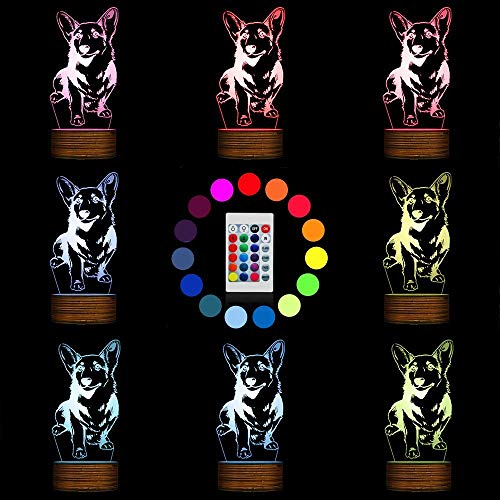 Novelty Lamp, Night Light 3D LED Lamp Optical Illusion Corgi Dog, 16 Color Remote Control Changes, with USB Charging Connector, Children's Birthday Gift Bedroom Decoration,Ambient Light by LIX-XYD (Image #1)
