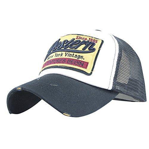 Pigment Dyed Newsboy Cap - YQZB Baseball Cap for Women Men Pigment Dyed Low Profile Mesh Adjustable Hat Vintage Washed Visor Navy