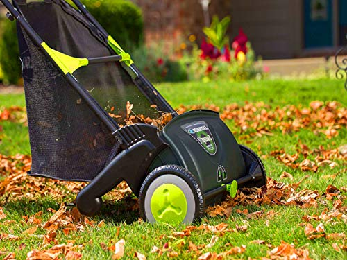 STS SUPPLIES LTD Lawn Sweeper Brushes Leaves Yard Adjustable Height Revolving Removable Bag Outdoor Electic Power Cleaner Handheld Machine & Ebook by AllTim3Shopping. ()