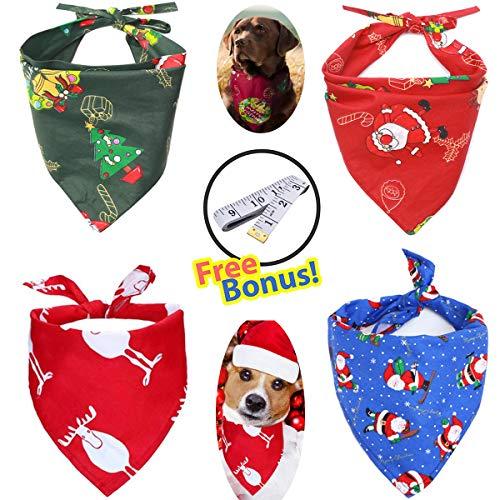 OLI Dog Bandana X'mas Large – 4PCS Pet Triangle Scarf Neckerchief Bibs Costume Santa Pattern Reversible Washable…