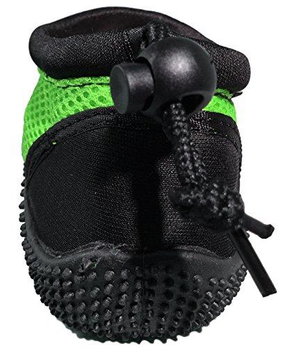 Wave Runner Quick Dry Wasserschuhe Aqua Socken Barfuß Slip-On mit verstellbaren Rückengurt für Männer Frauen Schwarz und Grün