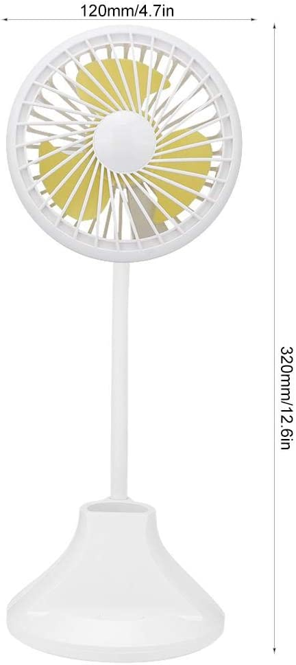 Garosa Mini Portable Table Desk USB Fan Rechargeable Battery Powered Quiet Handheld Personal Fan with Table Night Lamp for Home Office Travel Outdoor White