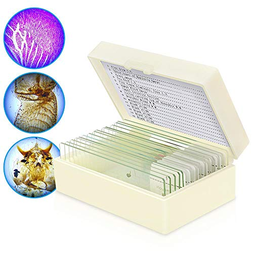 (Microscope Slides, 10pc Biology Science Prepared Slides and 5pc Blank Ground Edge Slides with Storage Case)