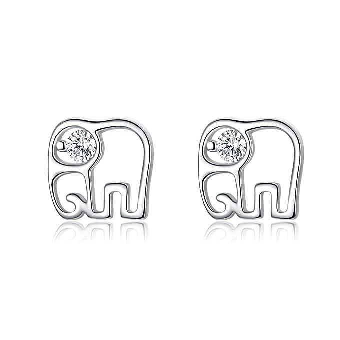 Pendientes De Plata De Ley 925 Hipoalergénicos Con Diseño De Elefante, Regalo De Navidad Para Mujeres Y Niñas