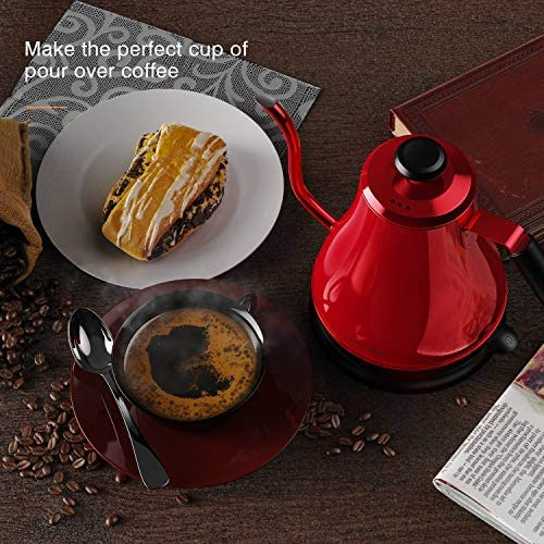 HadinEEon Electric Gooseneck Kettle 100% Stainless Steel BPA-Free Tea Kettle, Electric Pour Over Coffee Kettle Pot Portable Cordless Teapot with Auto ShutOff Protection,1000 Watt,0.8L-Candy Apple Red
