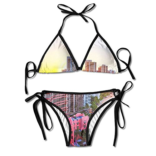 Most Fashion Maker Girls Hawaii Tropical Island Skyline Colorful Printing Summer Sexy Two Pieces Bathing Suit by Most Fashion Maker