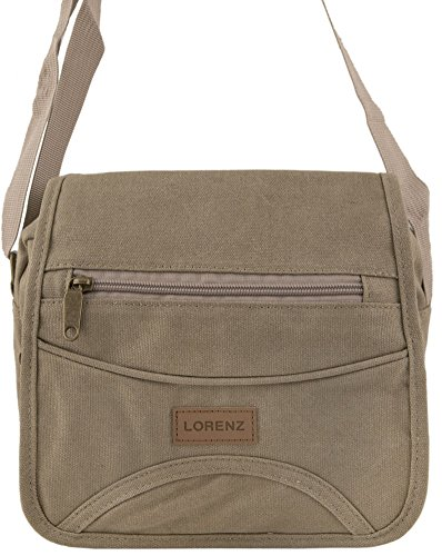 Bolso pequeño de tela para hombre, mujer, viaje, trabajo. Color negro, caqui, verde, marrón o gris Khaki (Sand)