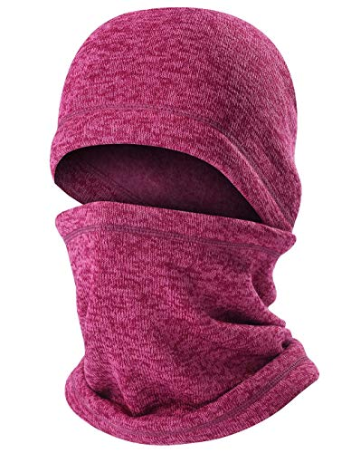 ChinFun Balaclava Knitting Face Mask Fleece Lining Cold Weather Wind-Resistant Ski Mask Ninja Mask Neck Warmer Tactical Balaclava Snowboard Cycling Winter Hats Heather Fushcia