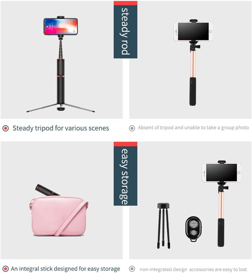 Compatible with iPhone Xs//XR//XS Max//X//iPhone 8//8 Plus//iPhone 7//7 Plus SHENXIAOMING Selfie Stick Tripod Galaxy S9 Plus,Gold Extendable Camera Tripod with Bluetooth Remote Shutter and Fill Light
