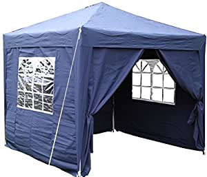 Airwave 2.5x2.5mtr BLUE Pop Up Gazebo, FULLY WATERPROOF with Four Side Panels and Carrybag