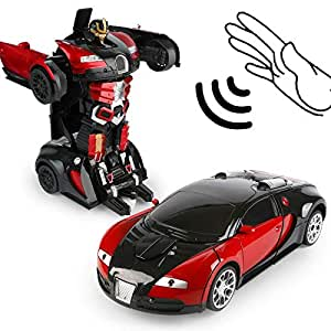 Transformation Car Toy Bugatti Car Robot for Kids, RC Car One Button Transforms into Robot, Remote Control Transforming Robot for boy girl kids (Red)
