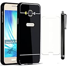 Sunroyal ® Ultra-thin 3 in 1 Premium Electroplate Metal Texture Armor PC Hard Back Case Anti-Scratch Anti-fingerprint Shockproof Resist Cracking Cover for Samsung Galaxy A5 5.0 inch (2015) (Not for 2016) +1x Screen Protector +1xStylus Pen,Black