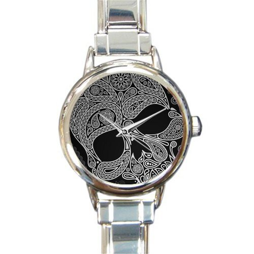 (Personalized Watch Cool skull Round Italian Charm stainless steel Watch)