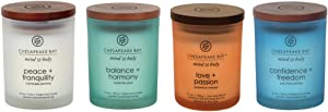 Chesapeake Bay Candle Mind & Body Scented Candle Gift Set #1, Balance + Harmony, Peace + Tranquility, Confidence + Freedom, Love + Passion, Small Jar (4-Pack)