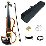 Kinglos 4/4 Solid Wood Advanced Wood Grain Electric / Silent Violin Kit with Ebony Fittings Full Size (MWDS1902)
