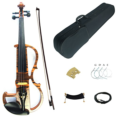Kinglos 4/4 Solid Wood Advanced Wood Grain Electric / Silent Violin Kit with Ebony Fittings Full Size (MWDS1902) by Kinglos