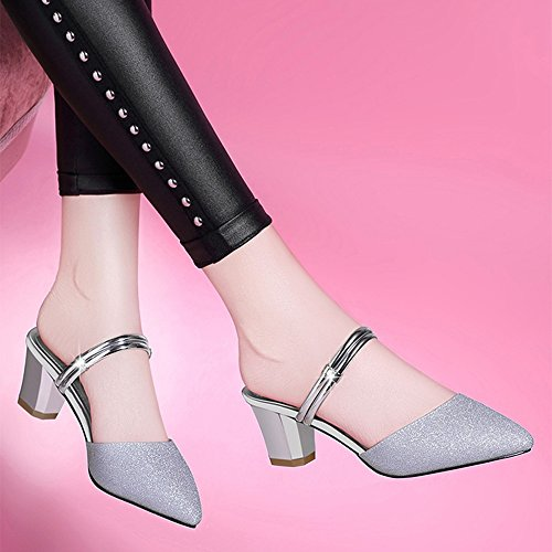 femenino Dos de Fei Un La Nueva sandalias con par de Baotou alto grueso usan de Fei Chanclas medias de tacón zapatos plata oro zapatos Antidérapant usan FEI mujer moda Plata verano coreano rAX7w0qnX