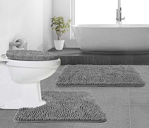 Gorilla-Grip-Original-Shaggy-Chenille-Bathroom-2-Piece-Rug-Set-Includes-Mat-Contoured-for-Toilet-and-30×20-Carpet-Rugs-Machine-WashDry-Perfect-Plush-Mats-for-Tub-Shower-Bath-Room-Gray