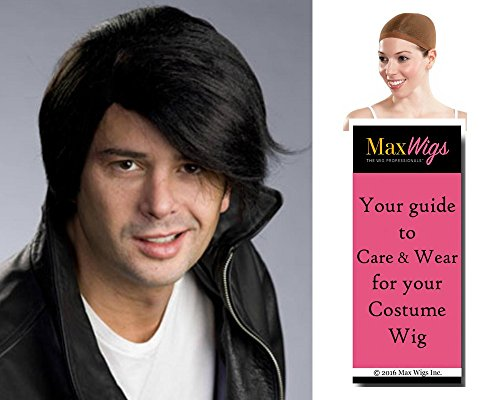 El-vis Young Elvis color BLACK - Enigma Wigs Rebel 1950s Greaser men Bundle with Cap, MaxWigs Costume Wig Care Guide -