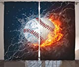 Ambesonne Sports Decor Collection, Baseball Ball on Fire and Water Flame Splashing Thunder Lightning Creative Art, Living Room Bedroom Curtain 2 Panels Set, 108 X 90 Inches, White Blue Red Orange Review