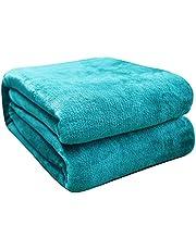 FARFALLAROSSA Deken van fleece, effen, microvezel, zacht, multifunctioneel, voor bank, bed, reizen, volwassenen en kinderen
