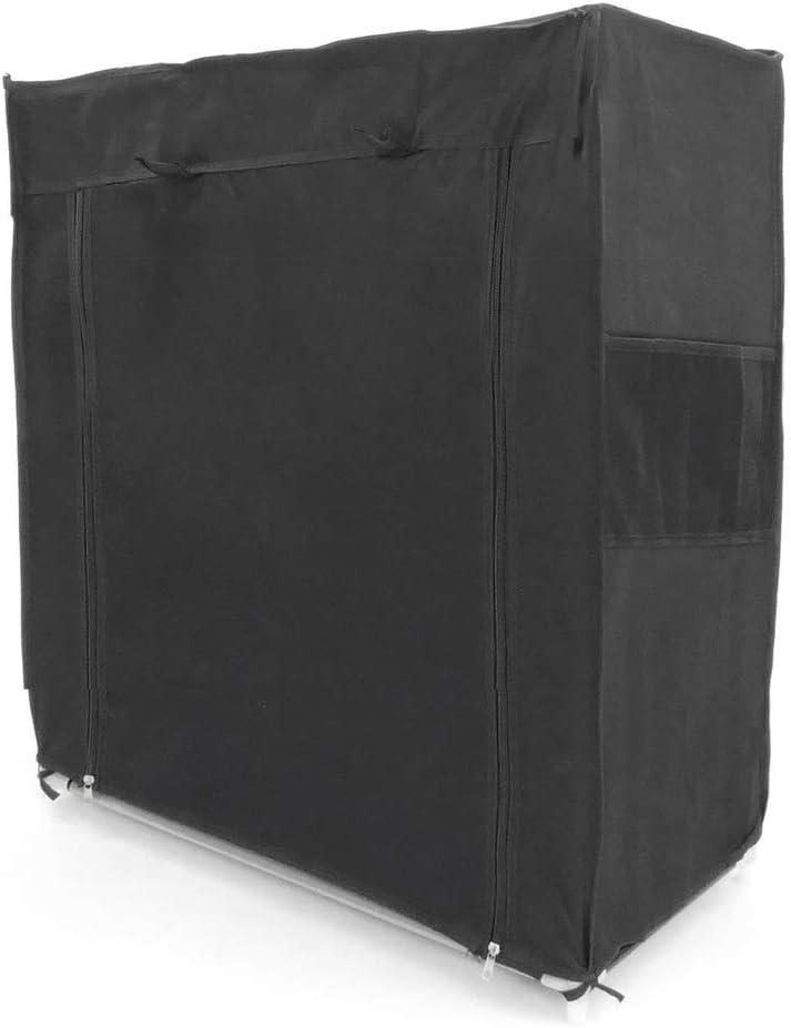 PrimeMatik - Armario ropero y Zapatero de Tela Desmontable 60 x 30 x 76 cm Negro con Puerta Enrollable