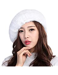 Valpeak Womens Winter Berets Strong Elasticity Knitted Real Mink Fur Hat