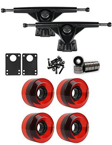 RKPブラックLongboard Trucksホイールパッケージ60 mm x 41 mm 78 a 186 Cレッドクリア [並行輸入品]   B078WVZYDF
