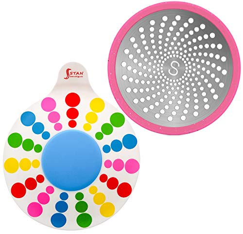 STAN BOUTIQUE Silicone Tub Stopper Bathtub Drain Plug for Bathroom, Kitchen and Laundry, Multicolor - Drain Hair Catcher Trap Cover Strainer Collector - Steel and Silicone - Universal use 2 Pieces