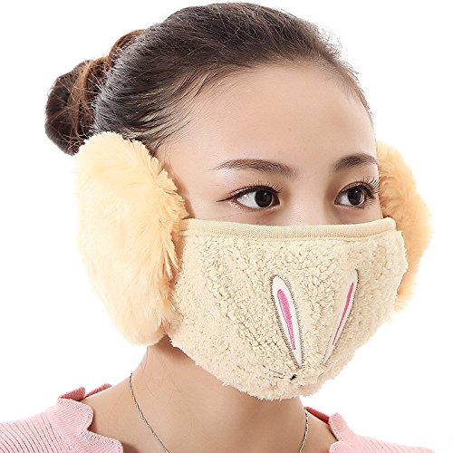 Neaer Winter Windproof Mask Embroidery Pattern of Rabbit Ears Warm Half Cover Sports Face Mask For Women -