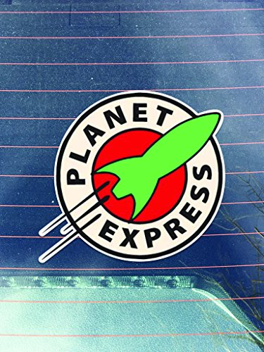 [Planet Express Vinyl Decals Sticker ( Two Pack ) | Cars Trucks Vans Walls Laptops Cups | Printed | 2 - 4 Inch Decals |] (Express Costume)
