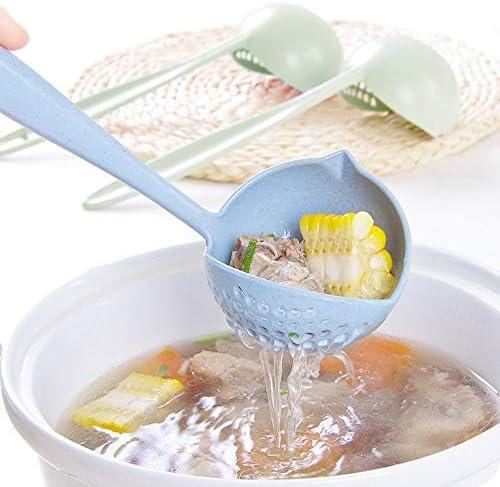 LovelysunshiDEany Weizenfarbe gesund gr/ün Suppenl/öffel Hitzebest/ändiger multifunktionaler Suppenl/öffel 2 in 1 langstieligen Blau doppelt verwendbaren Hei/ßtopfsieb