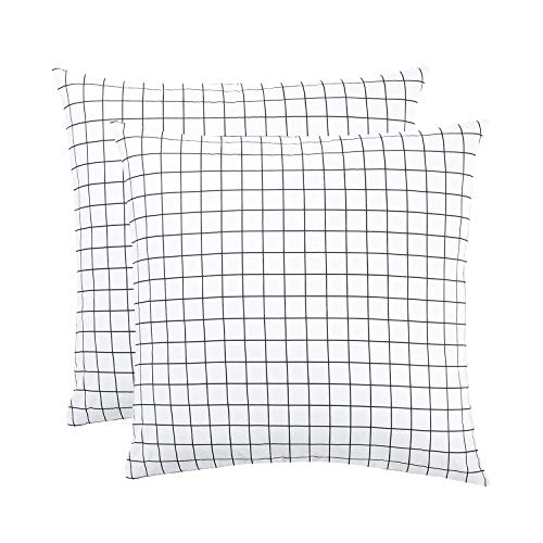Wake In Cloud - Pack of 2 Pillow Cases, 100% Cotton Pillowcases, Black White Grid Geometric Modern Pattern Printed (European Size, 26x26 Inches)