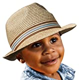 BePe Baby Straw Little Boy Kids Toddler Fedora Hat Panama Sun Cap - Khaki - 4 to 7 Years