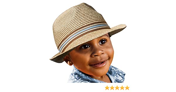 c501c3a57fb53 Amazon.com  BePe Baby Straw Little Boy Kids Toddler Fedora Hat Panama Sun  Cap - Khaki - 4 to 7 Years  Clothing