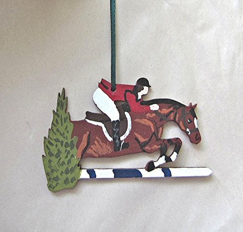Grand Prix Jumper - Hand-Painted GRAND PRIX JUMPER ENGLISH HORSE/RIDER Wood Christmas Ornament Artist Original...choose bay or chestnut horse